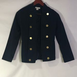 H&M Navy Blue Coat Gold Button Pockets 2 Outfit